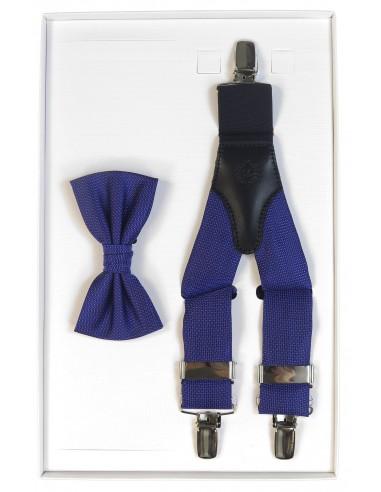Kobaltowy zestaw z mikrowzorem - mucha i szelki