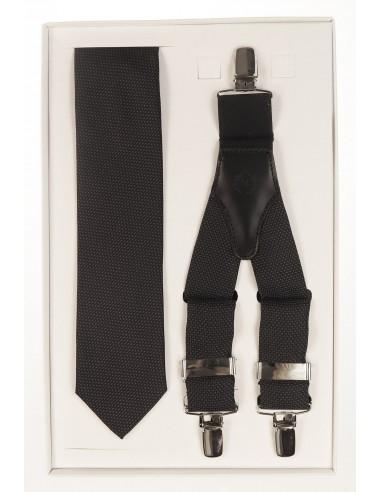 Czarny zestaw - krawat i mucha