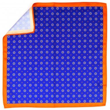 Niebiesko-pomarańczowa poszetka z kwiatkami