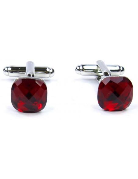 Spinki do mankietów - czerwone kryształy H3