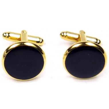 Złote spinki smokingowe do mankietów z czarnym oczkiem H5