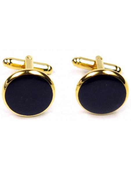 Złote spinki smokingowe do mankietów z czarnym oczkiem H5 N100