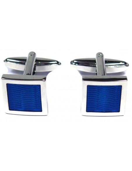 Kwadratowe srebrne spinki - niebieskie fale A11