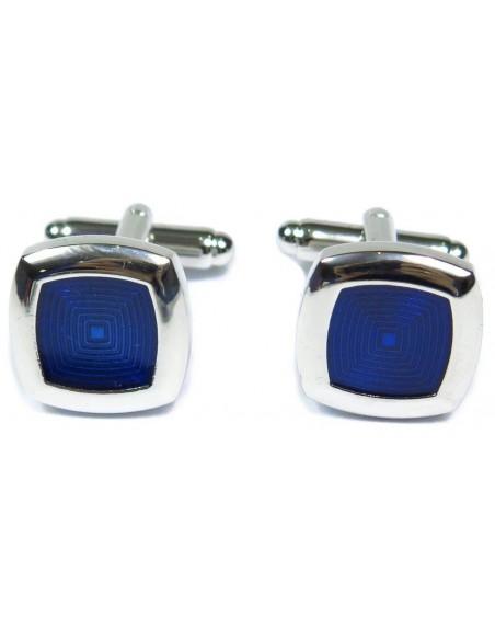 Srebrne / niebieskie spinki męskie - kwadraty A8