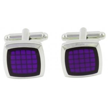 Srebrne spinki do mankietów - fioletowe kwadraty H2