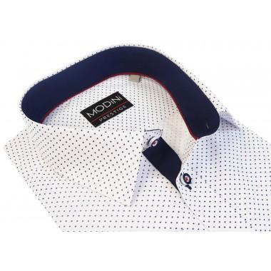 Biała koszula męska Modini granatowe kwadraciki A7