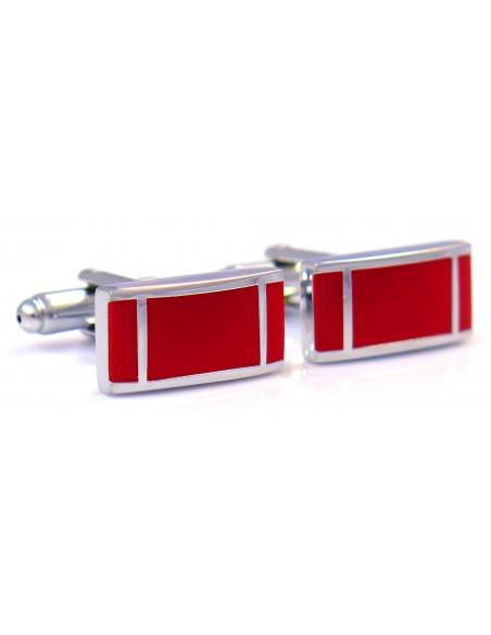 Srebrno-czerwone spinki do mankietów z pionowymi paskami N18