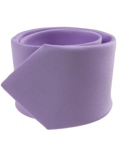 Wrzosowy - jasno fioletowy krawat z poszetką