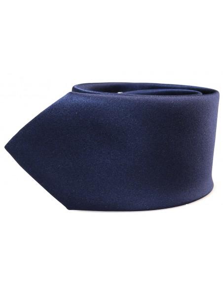 Granatowy krawat z poszetką