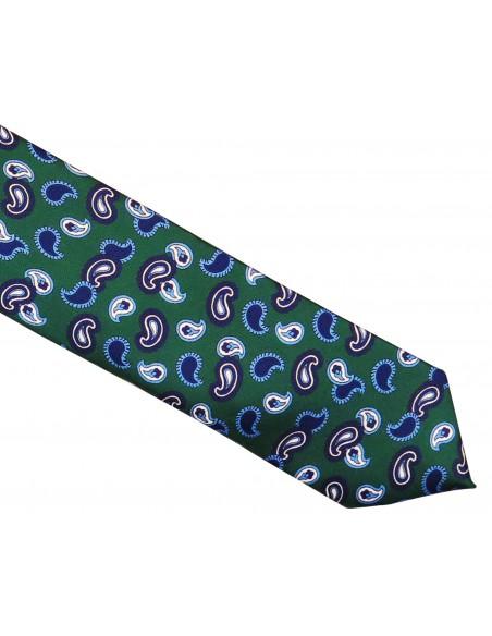 Zielony krawat jedwabny - niebieski paisley R34