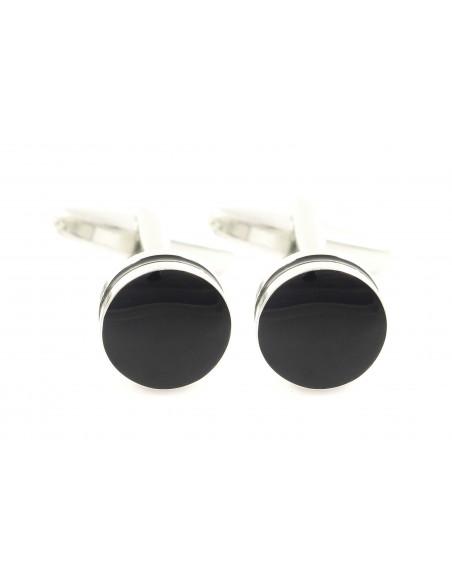 Czarne okrągłe spinki do mankietów A118
