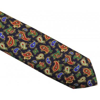 Granatowy krawat jedwabny - zielone / czerwone paisley