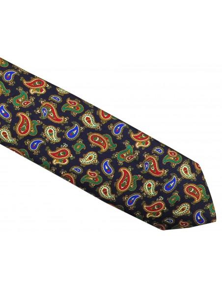Granatowy krawat jedwabny - zielone / czerwone paisley R29