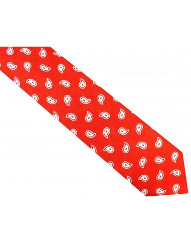 Czerwony krawat jedwabny z dodatkiem lnu - biały paisley