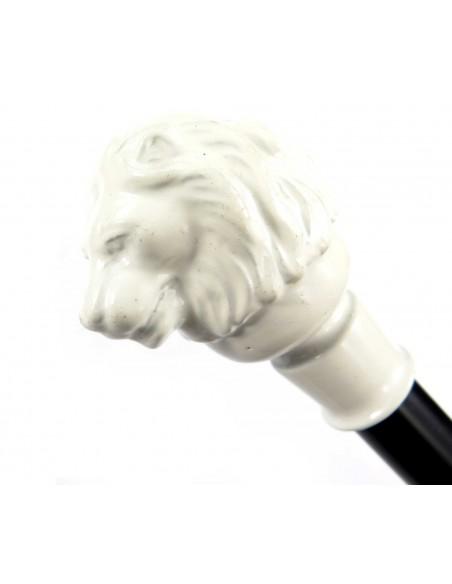 Czarna ozdobna laska lwia głowa