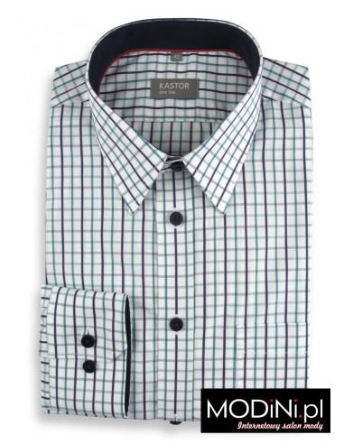 Koszula biała w zielono-granatową kratę Kastor - Slim