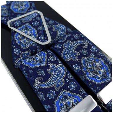 Niebieskie - granatowe szelki męskie Lloyd wzór paisley L01