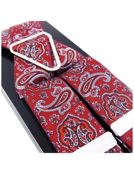 Czerwone szelki męskie Lloyd wzór paisley L03
