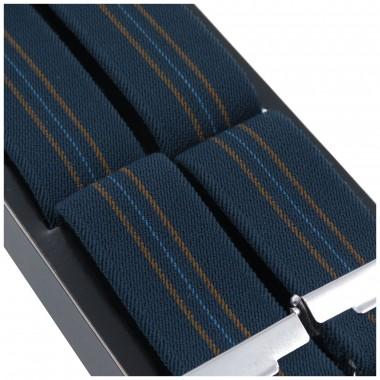 Granatowe szelki z niebiesko-złotymi paskami L14