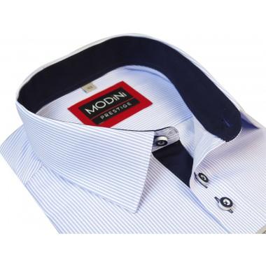 Biało-błękitna koszula z krótkim rękawem w prążki A5