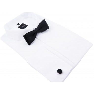 Biała koszula męska Mmer na spinki z plisą kryjącą guziki 031