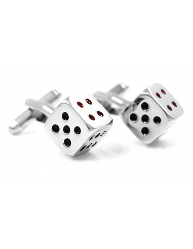 Srebrne spinki do mankietów - kości do gry