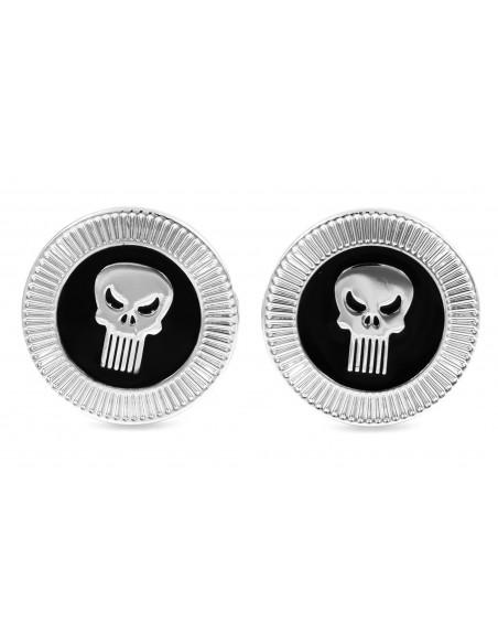 Srebrno-czarne spinki do mankietów - Punisher