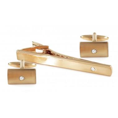 Złote spinki do krawata i mankietów z kryształami ZS1