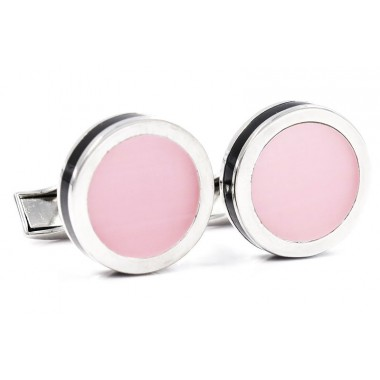 Ekskluzywne srebrno-różowe spinki do mankietów