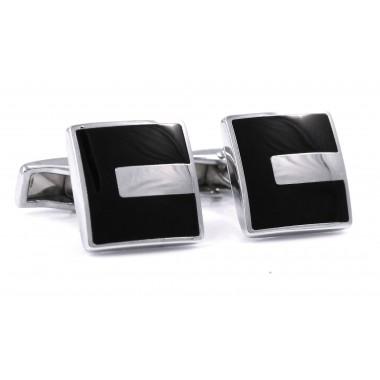 Czarne kwadratowe spinki do mankietów ze srebrnym prostokątem H128