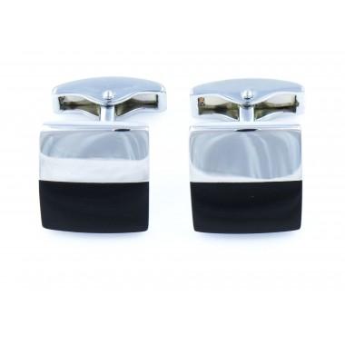 Spinki do mankietów - srebrny i czarny prostokąt H128