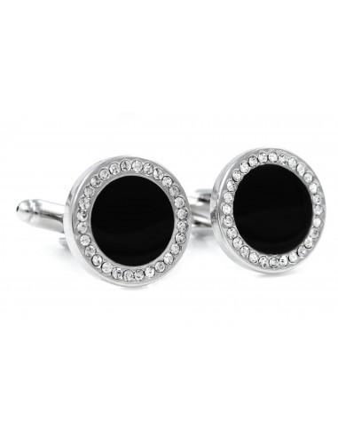 Eleganckie czarne okrągłe spinki do mankietów z kryształami H131