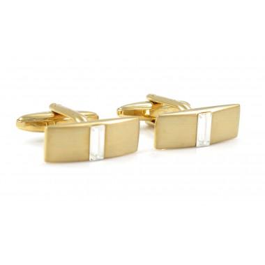 Złote spinki do mankietów z kryształowym prostokątem H134