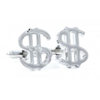 Srebrne spinki do mankietów - znak dolara