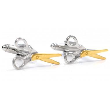 Srebrno-złote spinki do mankietów - nożyczki