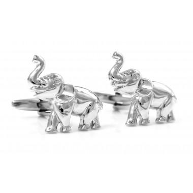 Srebrne spinki do mankietów - słonie