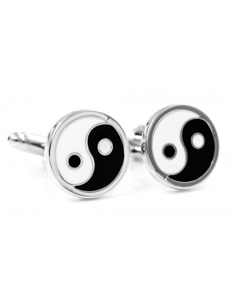 Biało-czarne spinki do mankietów - Yin i Yang
