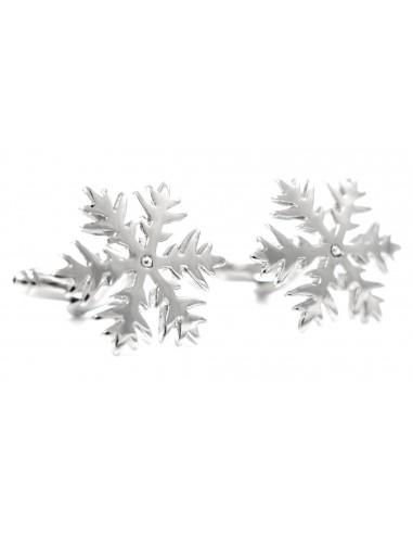 Srebrne spinki do mankietów - płatki śniegu