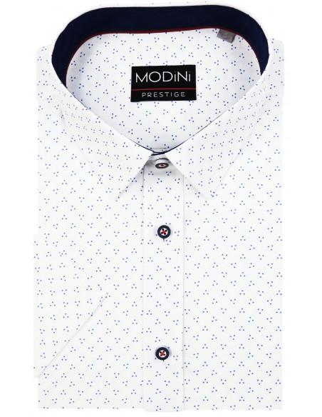 Biała koszula Modini na krótki rękaw w granatowe kropki A13