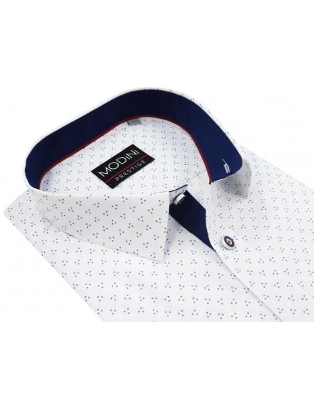Biała koszula w granatowe kropki A13 KRÓTKI RĘKAW