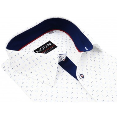 Biała koszula z długim rękawem w granatowe kropki A14