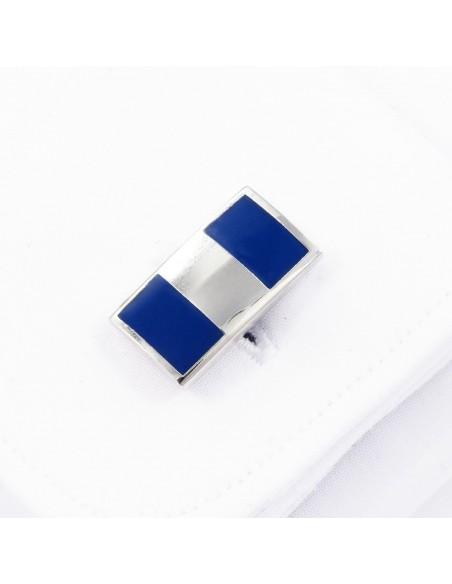 Kobaltowe spinki do mankietów - srebrny prostokąt N43