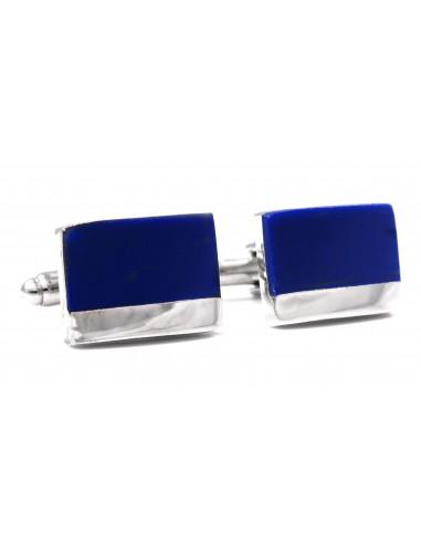 Kobaltowe spinki do mankietów ze srebrnym paskiem N45