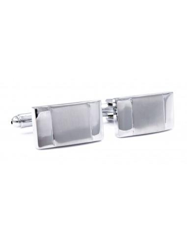 Srebrne błyszczące spinki do mankietów z matowym prostokątem N48