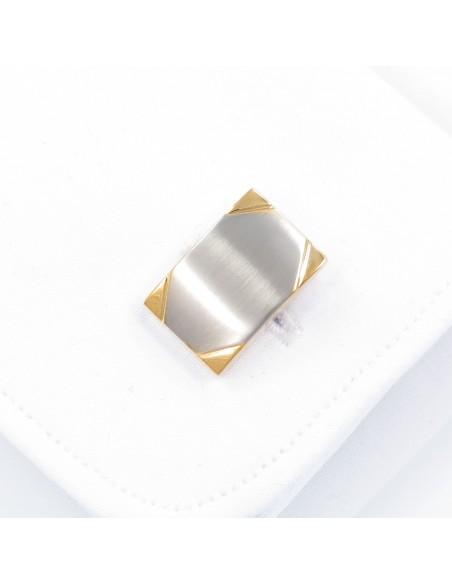 Prostokątne spinki do mankietów ze złotymi narożnikami N49