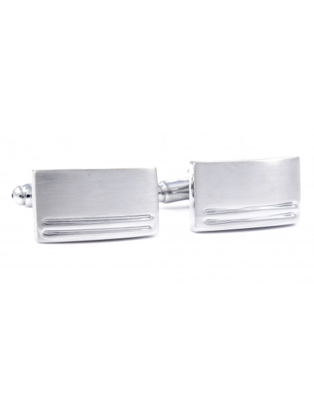 Srebrne spinki do mankietów z dwoma paskami N51