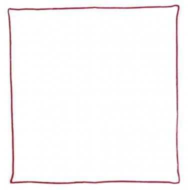 Biała poszetka bawełniana z czerwonym obszyciem