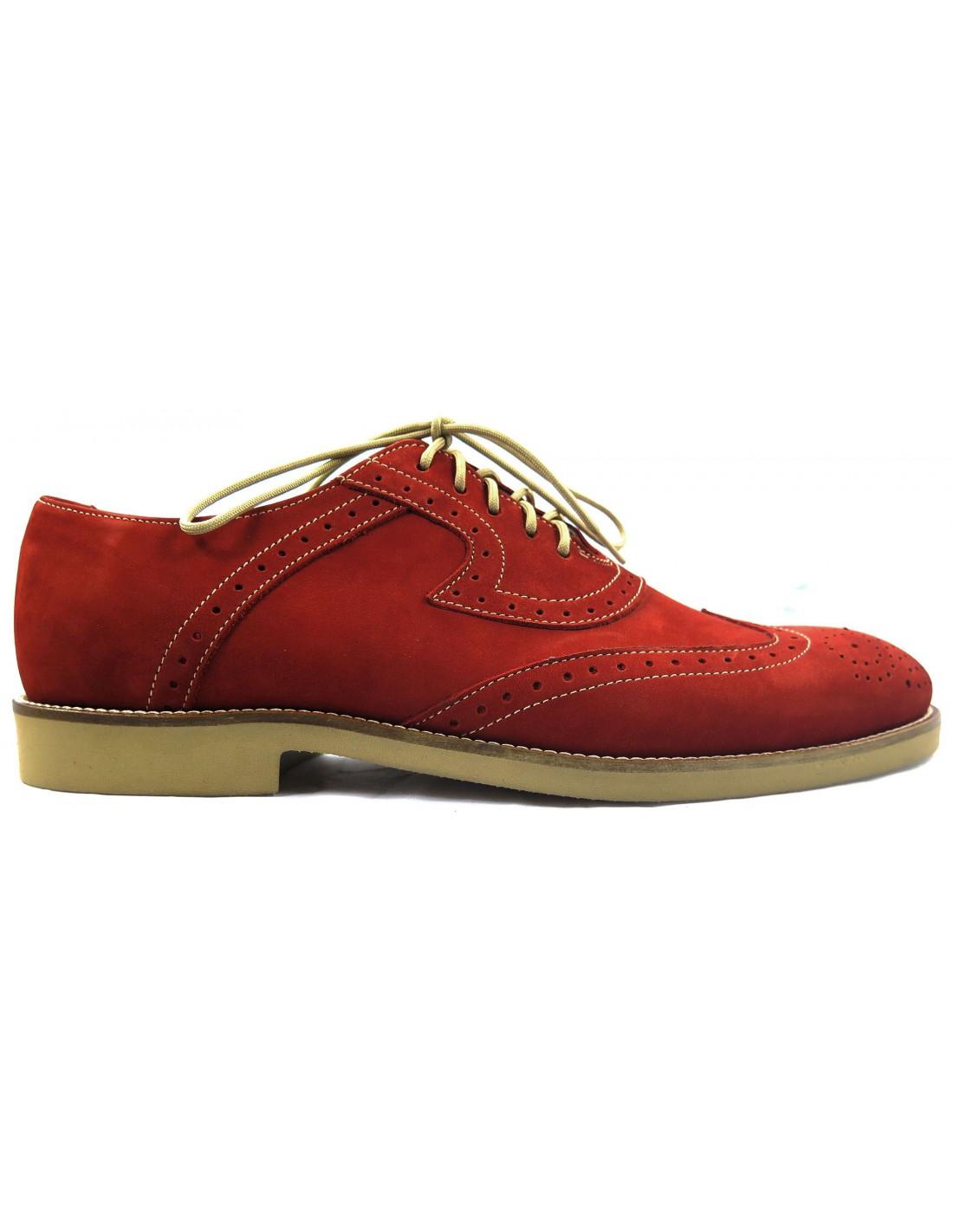613c0335 Czerwone zamszowe półbuty męskie - brogsy z beżowymi elementami T15 ...