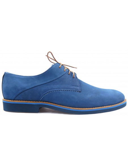 Niebieskie nubukowe półbuty męskie T12