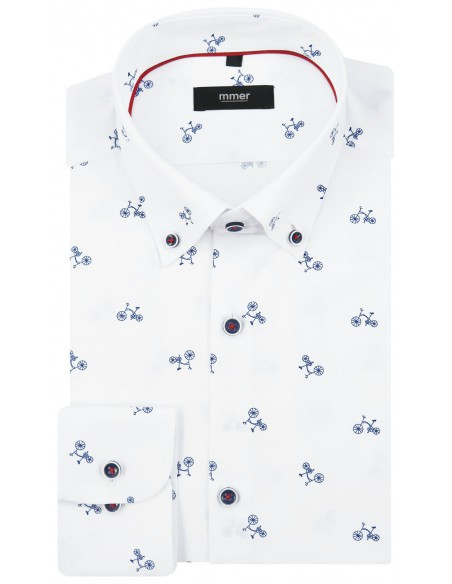 Biała koszula męska w granatowe rowery 381